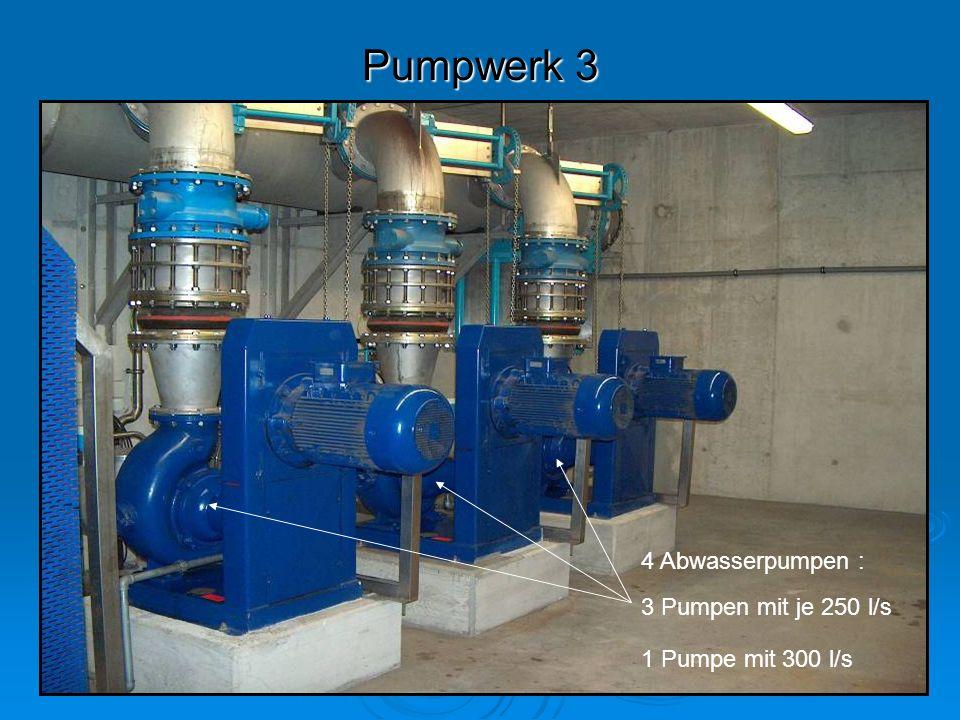 Pumpwerk 3 4 Abwasserpumpen : 3 Pumpen mit je 250 l/s