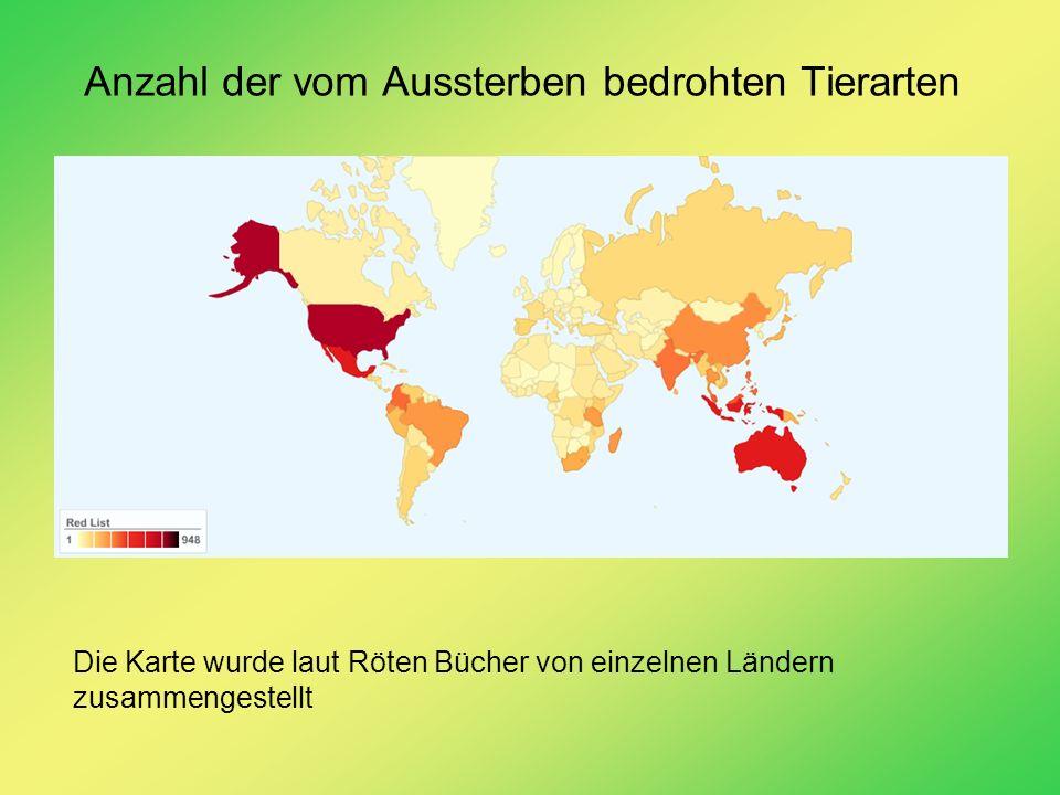 Anzahl der vom Aussterben bedrohten Tierarten