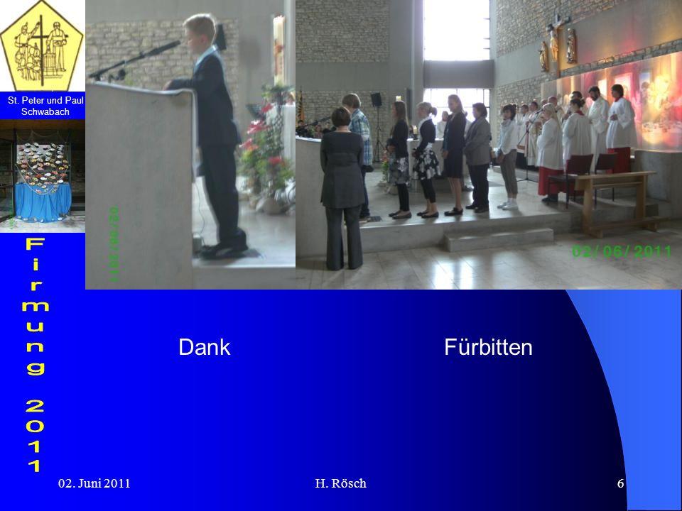 Dank Fürbitten 02. Juni 2011 H. Rösch