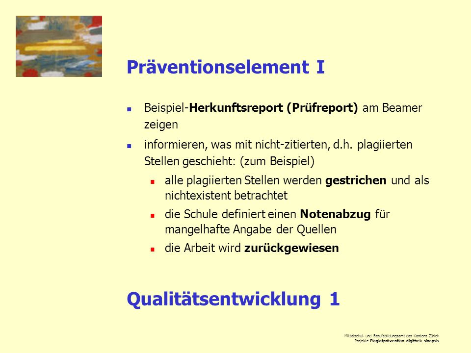 Qualitätsentwicklung 1