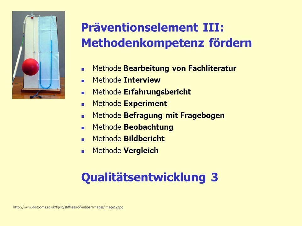 Präventionselement III: Methodenkompetenz fördern