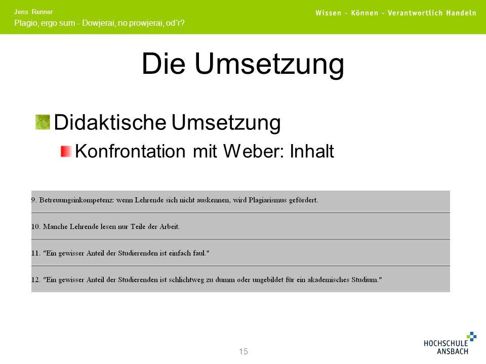 Die Umsetzung Didaktische Umsetzung Konfrontation mit Weber: Inhalt 15