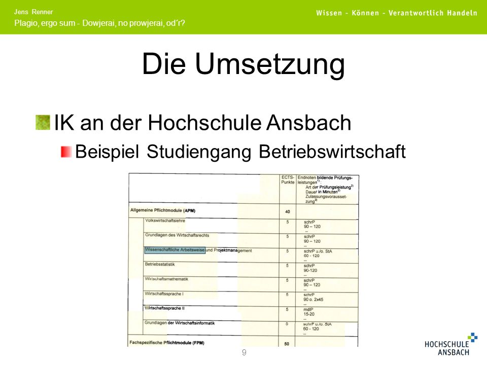 Die Umsetzung IK an der Hochschule Ansbach