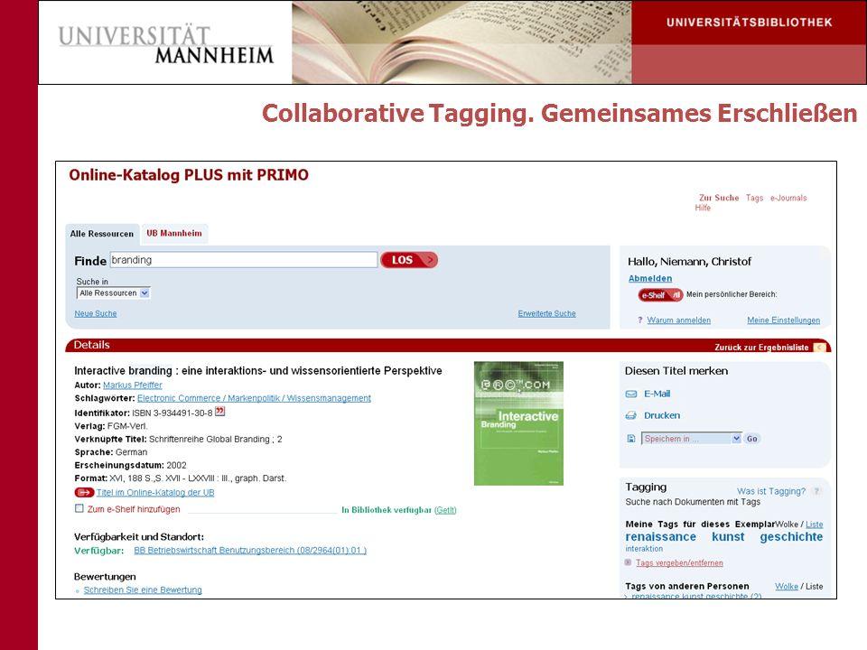 Collaborative Tagging. Gemeinsames Erschließen