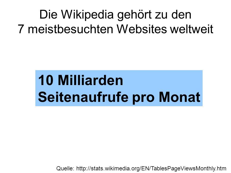 Die Wikipedia gehört zu den 7 meistbesuchten Websites weltweit