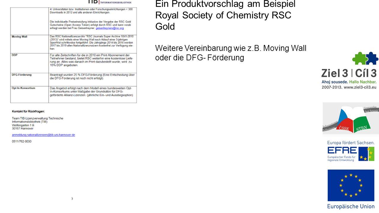 Ein Produktvorschlag am Beispiel Royal Society of Chemistry RSC Gold