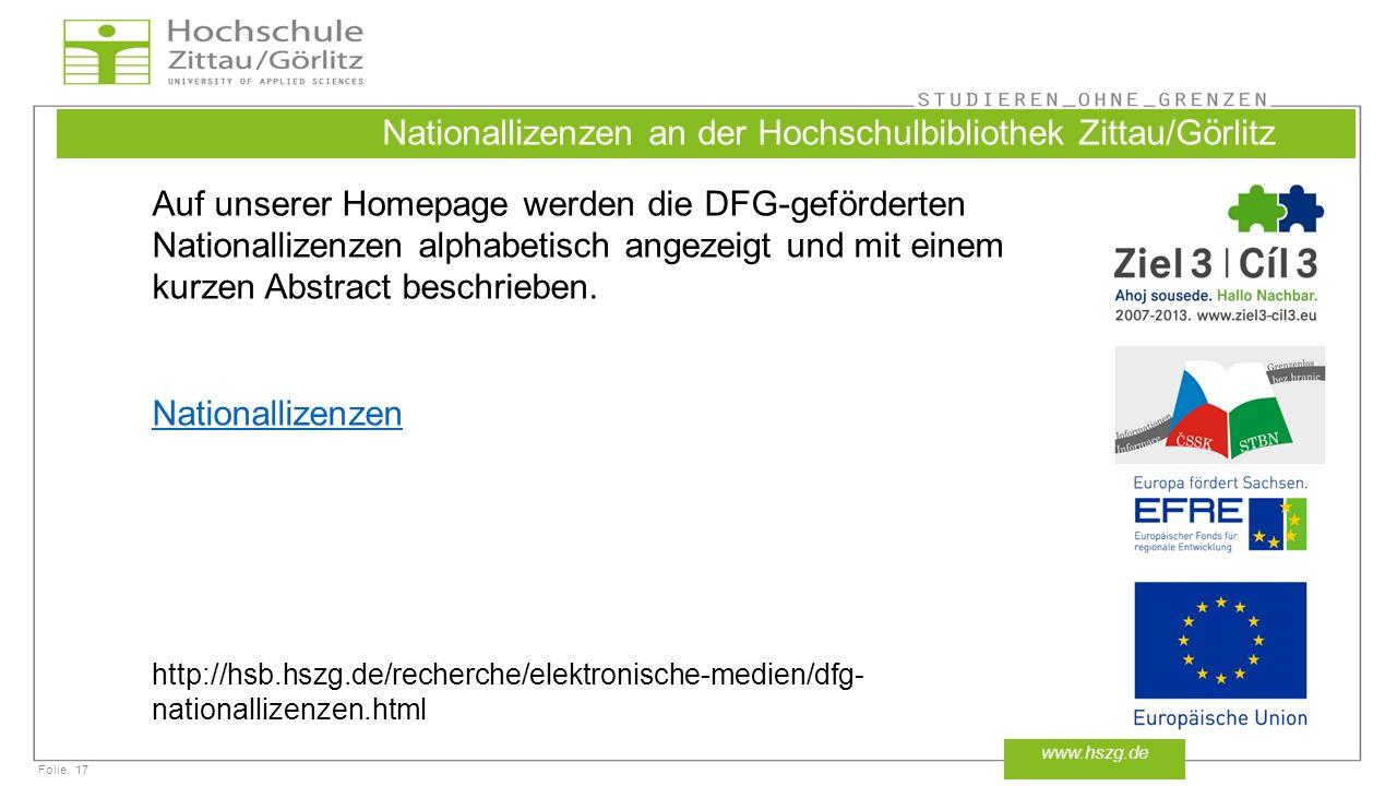 Nationallizenzen an der Hochschulbibliothek Zittau/Görlitz