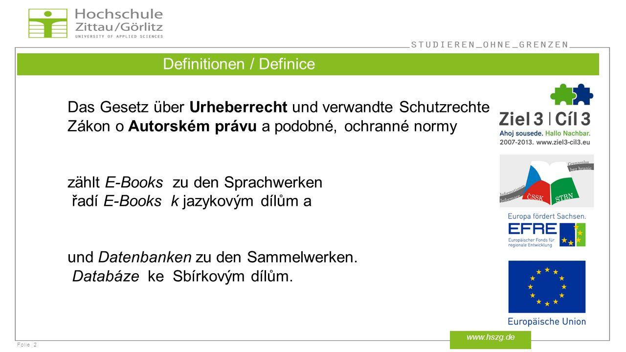 Definitionen / Definice