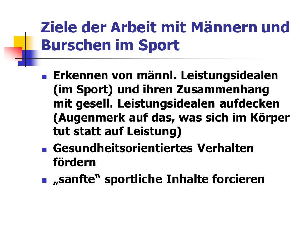 Ziele der Arbeit mit Männern und Burschen im Sport