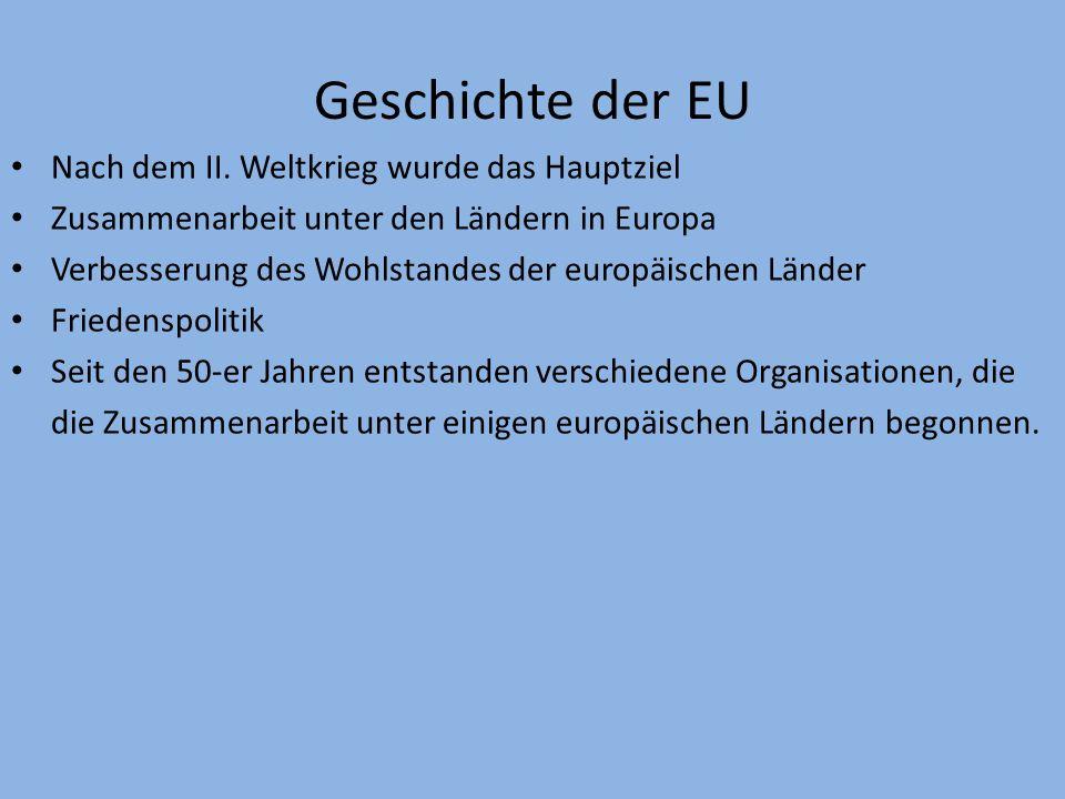 Geschichte der EU Nach dem II. Weltkrieg wurde das Hauptziel