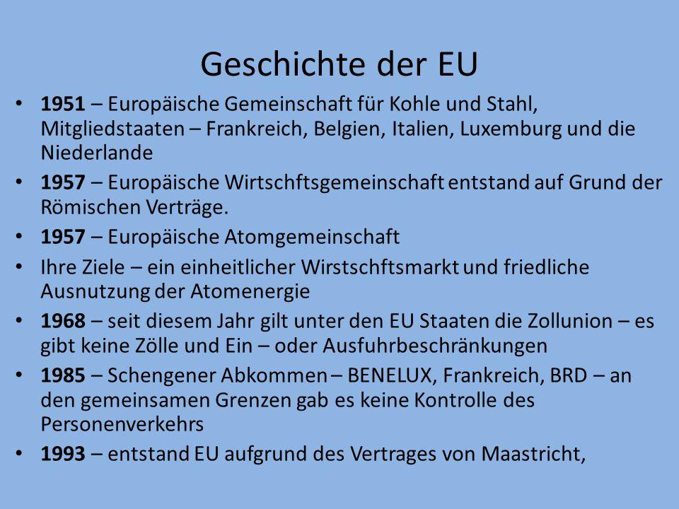 Geschichte der EU 1951 – Europäische Gemeinschaft für Kohle und Stahl, Mitgliedstaaten – Frankreich, Belgien, Italien, Luxemburg und die Niederlande.
