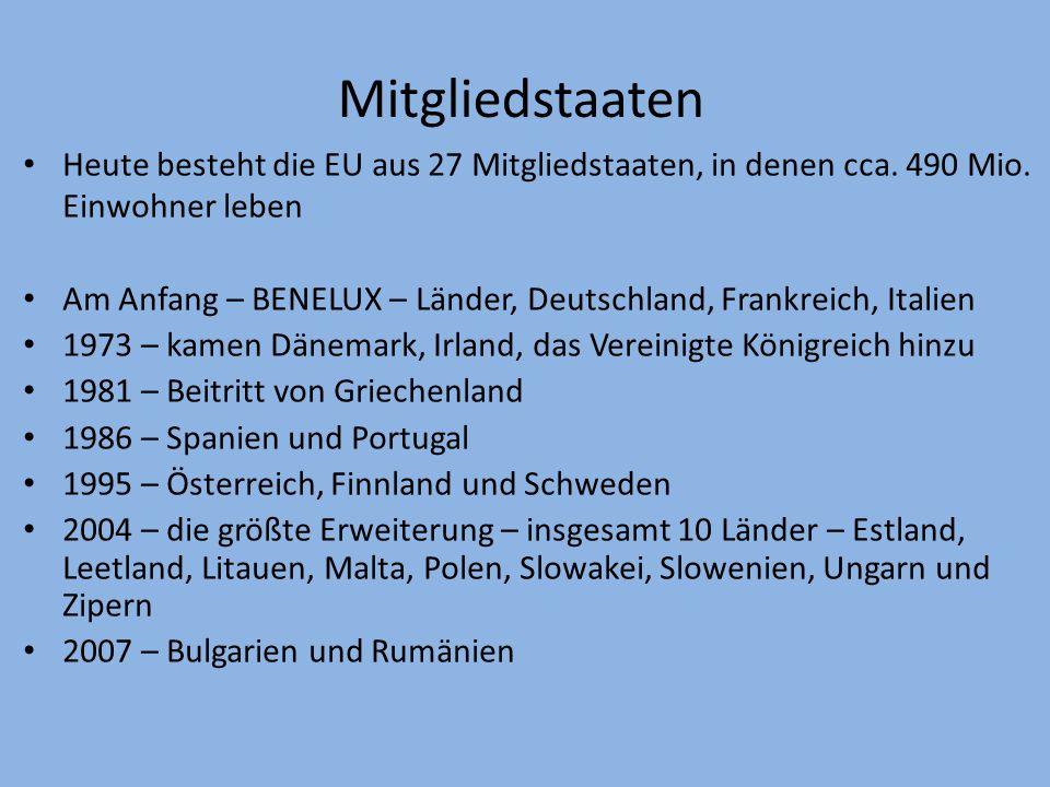 Mitgliedstaaten Heute besteht die EU aus 27 Mitgliedstaaten, in denen cca. 490 Mio. Einwohner leben.