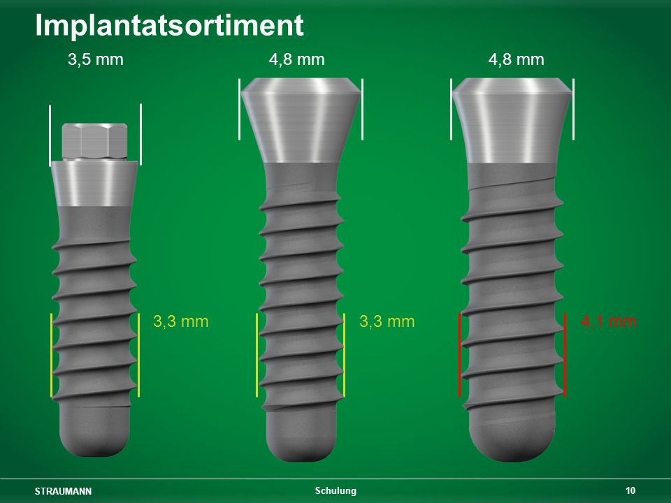 Implantatsortiment 3,5 mm 4,8 mm 4,8 mm. 3,3 mm 3,3 mm 4,1 mm.