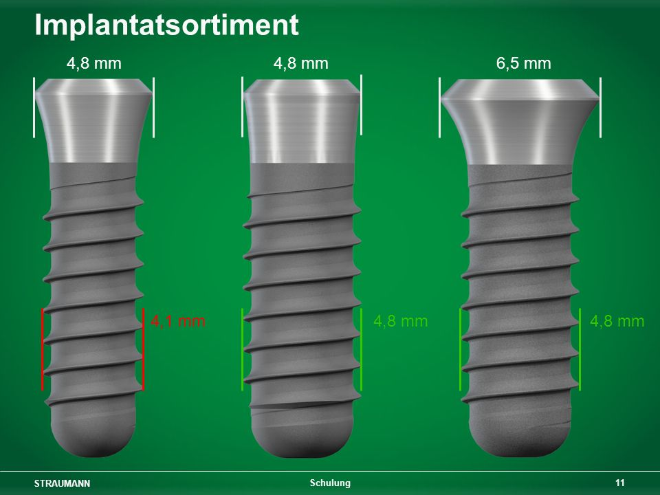 Implantatsortiment 4,8 mm 4,8 mm 6,5 mm 4,1 mm 4,8 mm 4,8 mm Schulung