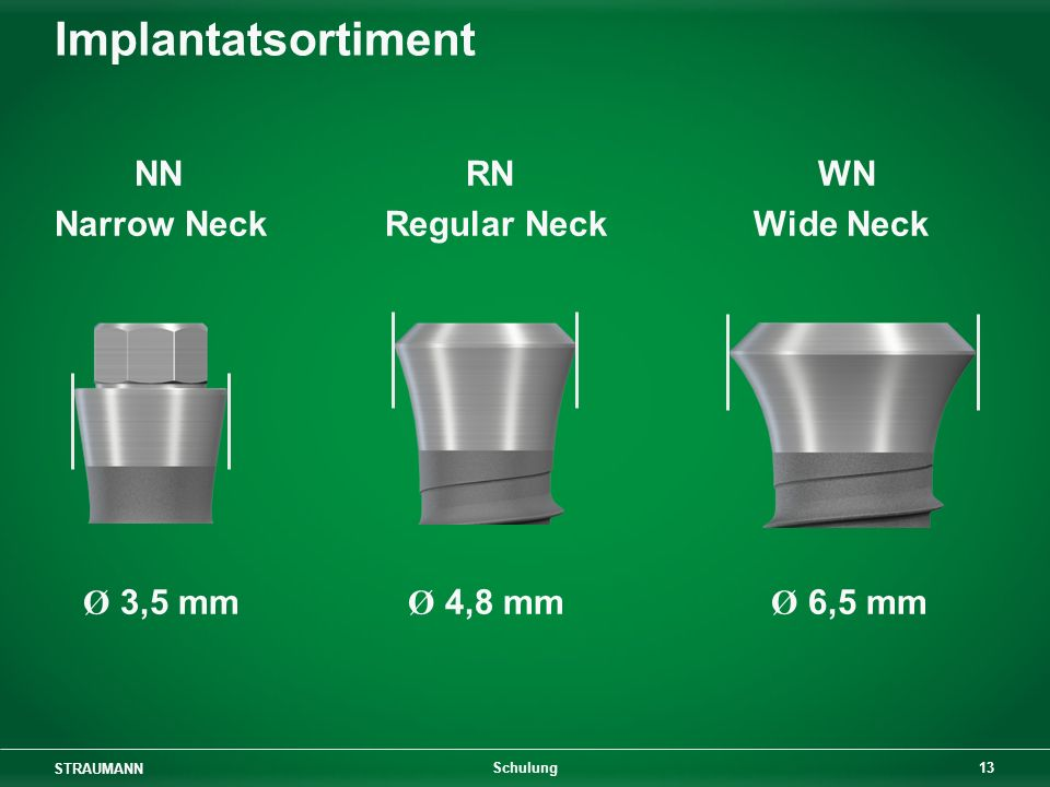 Implantatsortiment NN RN WN Narrow Neck Regular Neck Wide Neck