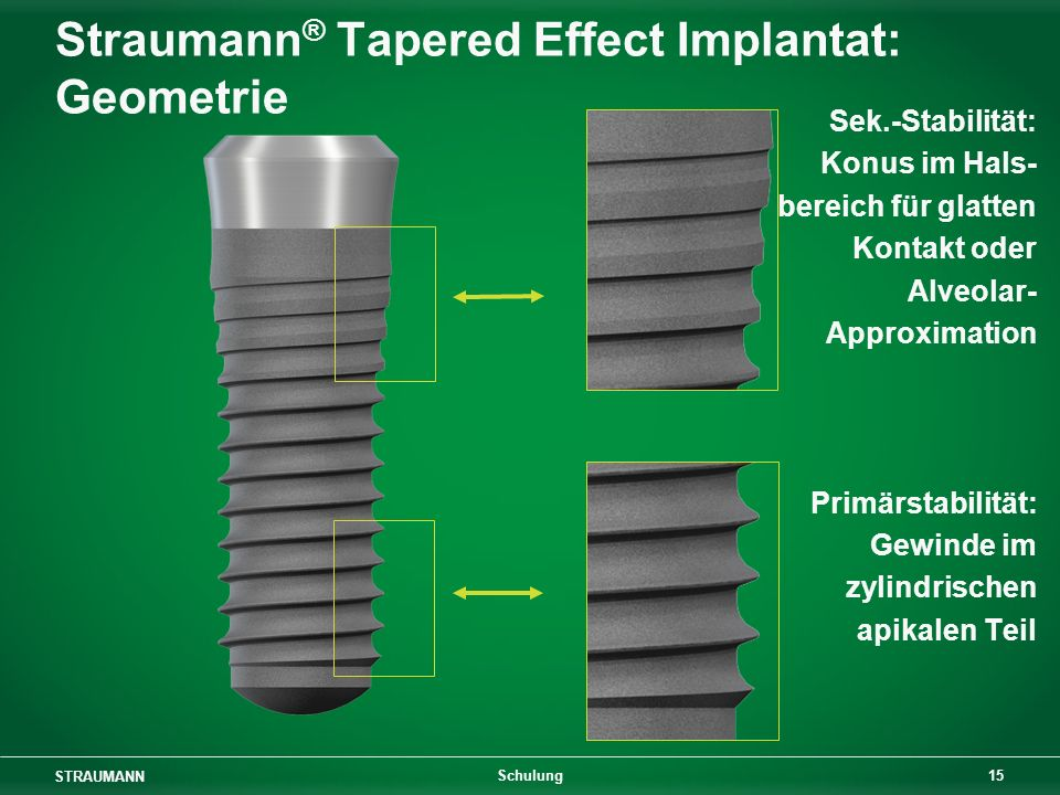 Straumann® Tapered Effect Implantat: Geometrie