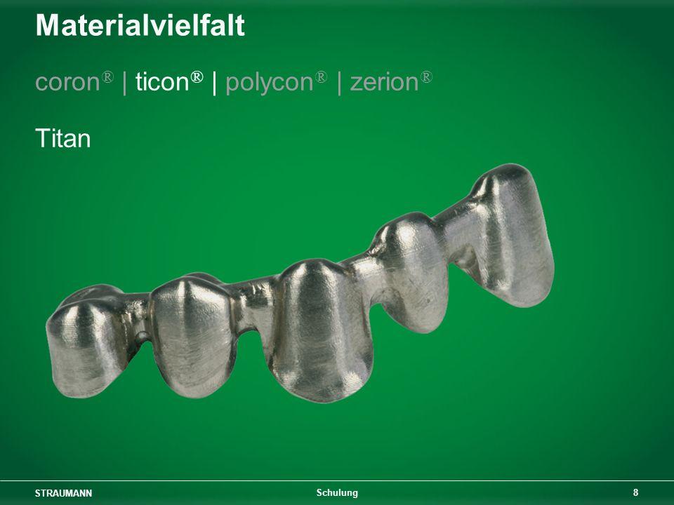 Materialvielfalt coron® | ticon® | polycon® | zerion® Titan Schulung