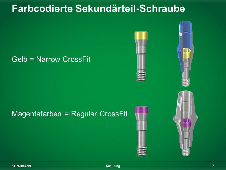 Farbcodierte Sekundärteil-Schraube
