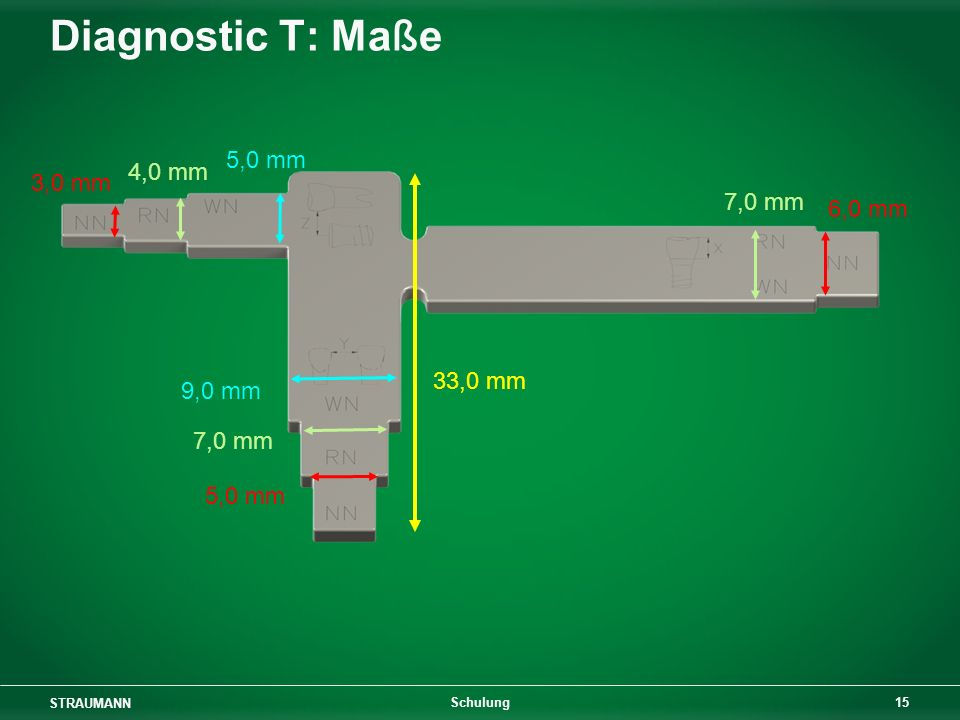 Diagnostic T: Maße 5,0 mm 4,0 mm 3,0 mm 7,0 mm 6,0 mm 33,0 mm 9,0 mm