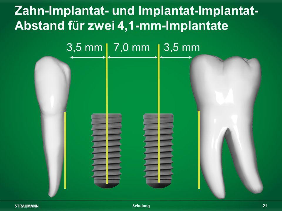 Zahn-Implantat- und Implantat-Implantat-Abstand für zwei 4,1-mm-Implantate