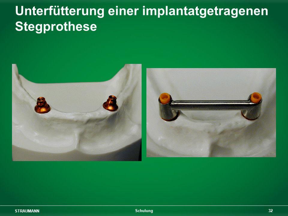 Unterfütterung einer implantatgetragenen Stegprothese