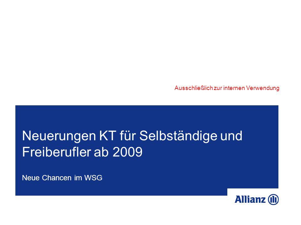Neuerungen KT für Selbständige und Freiberufler ab 2009