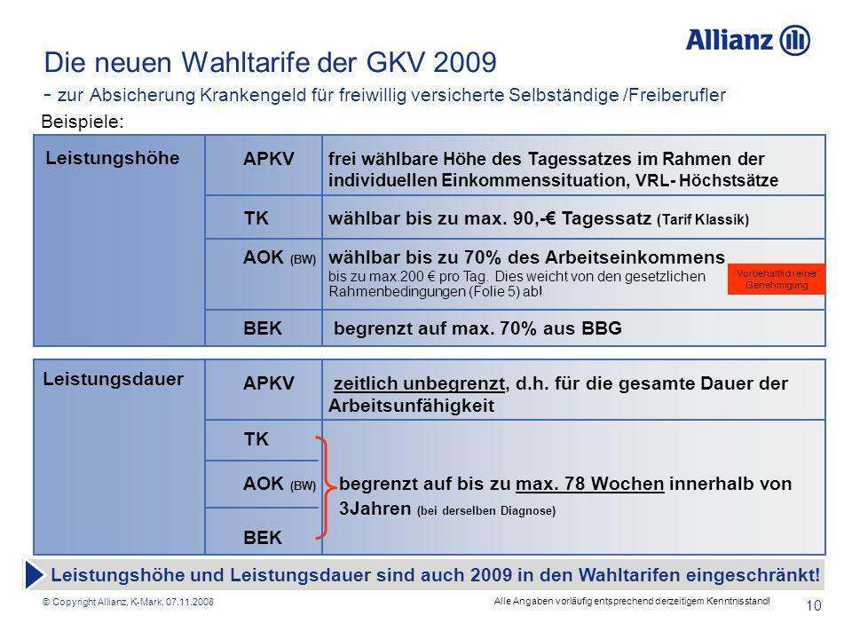 Die neuen Wahltarife der GKV 2009 - zur Absicherung Krankengeld für freiwillig versicherte Selbständige /Freiberufler