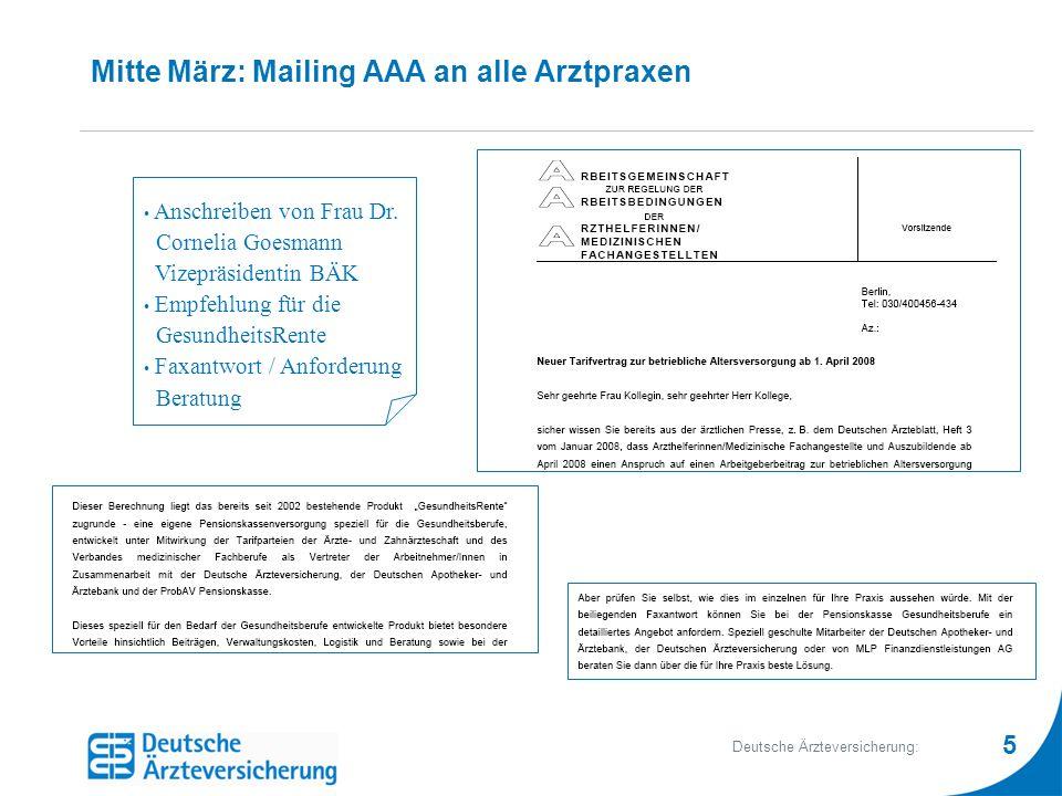 Mitte März: Mailing AAA an alle Arztpraxen