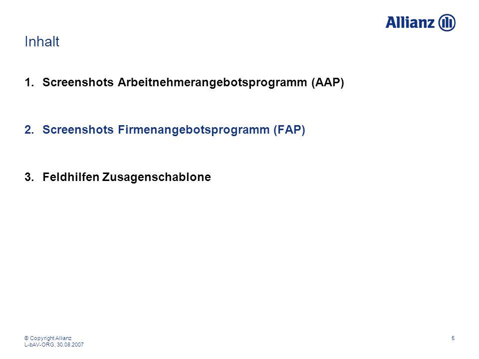 Inhalt Screenshots Arbeitnehmerangebotsprogramm (AAP)
