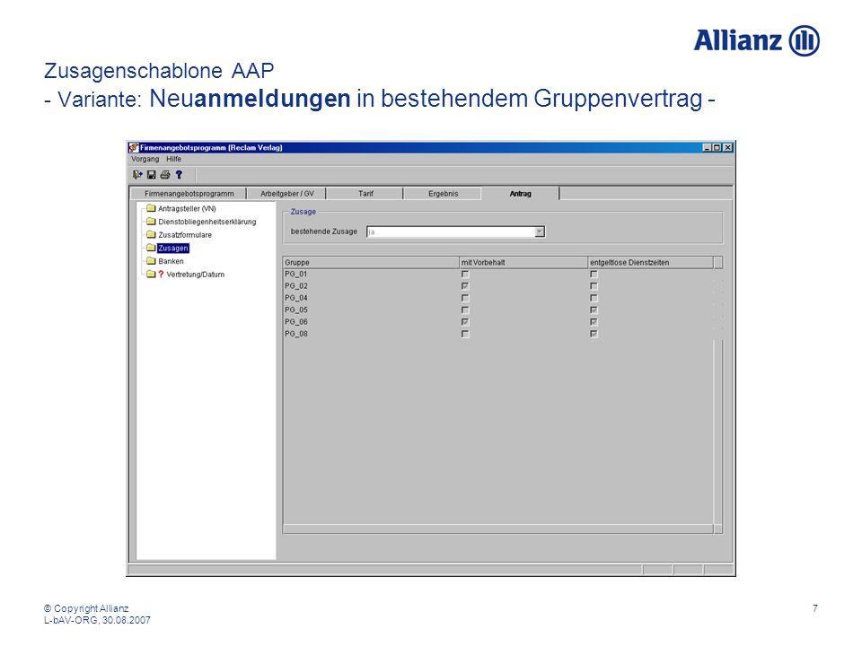 Zusagenschablone AAP - Variante: Neuanmeldungen in bestehendem Gruppenvertrag -