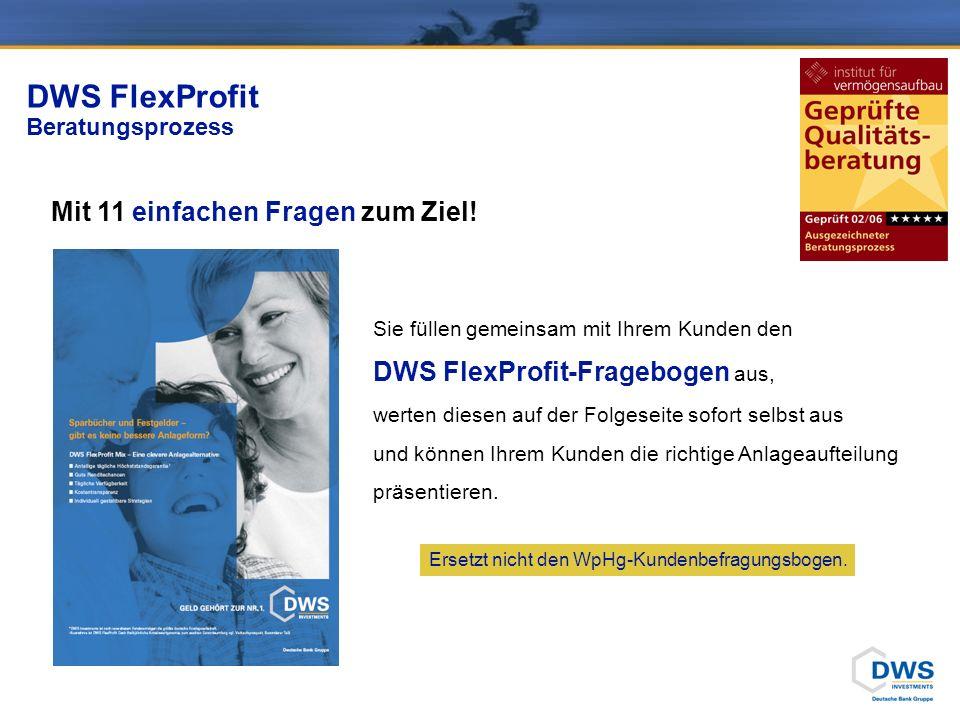 DWS FlexProfit Fragebogen 4 Fragen zur Anlegersituation: