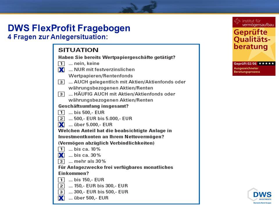DWS FlexProfit Fragebogen 6 Fragen zur Risikobereitschaft + 1 Frage zum Anlagehorizont