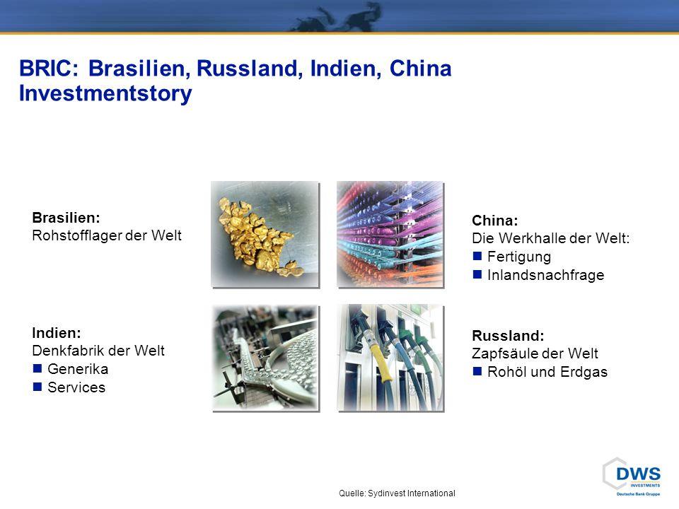 DWS Invest BRIC Plus: Branchen- und Länderallokation