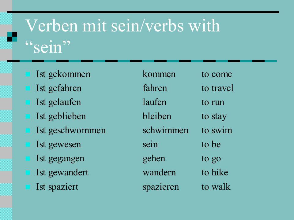 Verben mit sein/verbs with sein
