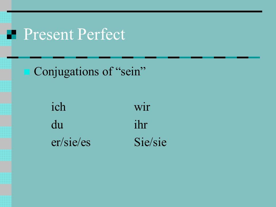 Present Perfect Conjugations of sein ich wir du ihr