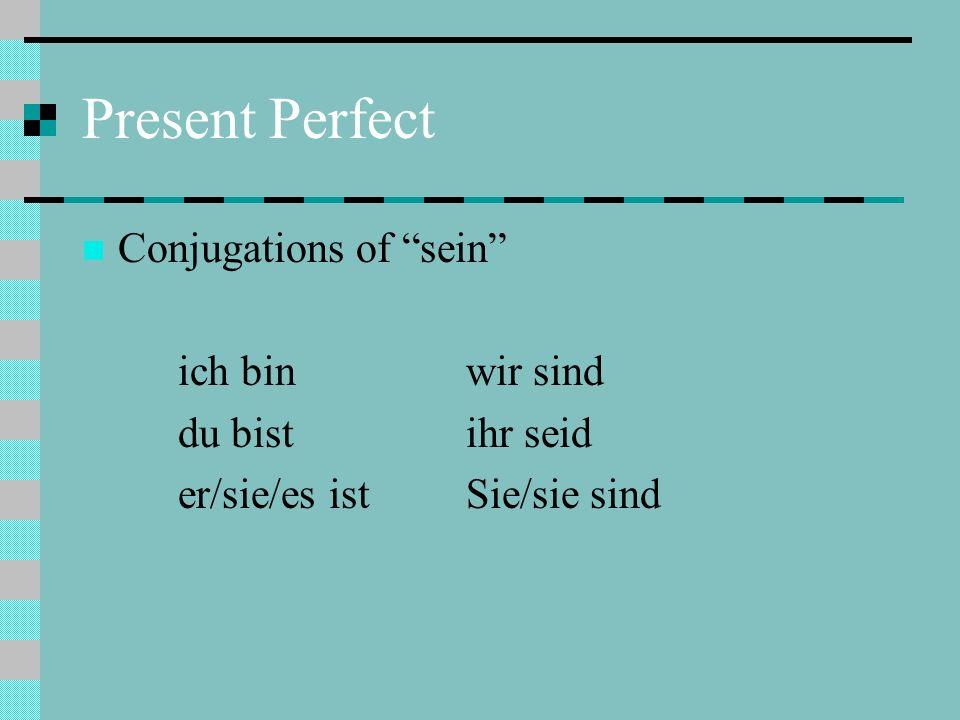 Present Perfect Conjugations of sein ich bin wir sind