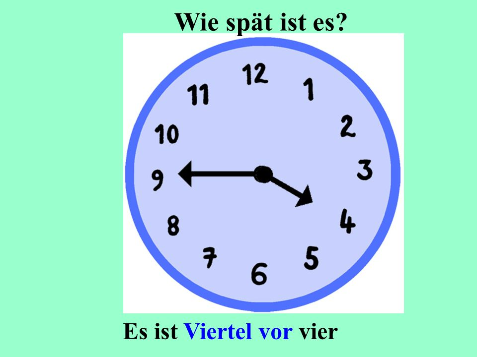 Wie spät ist es Es ist Viertel vor vier