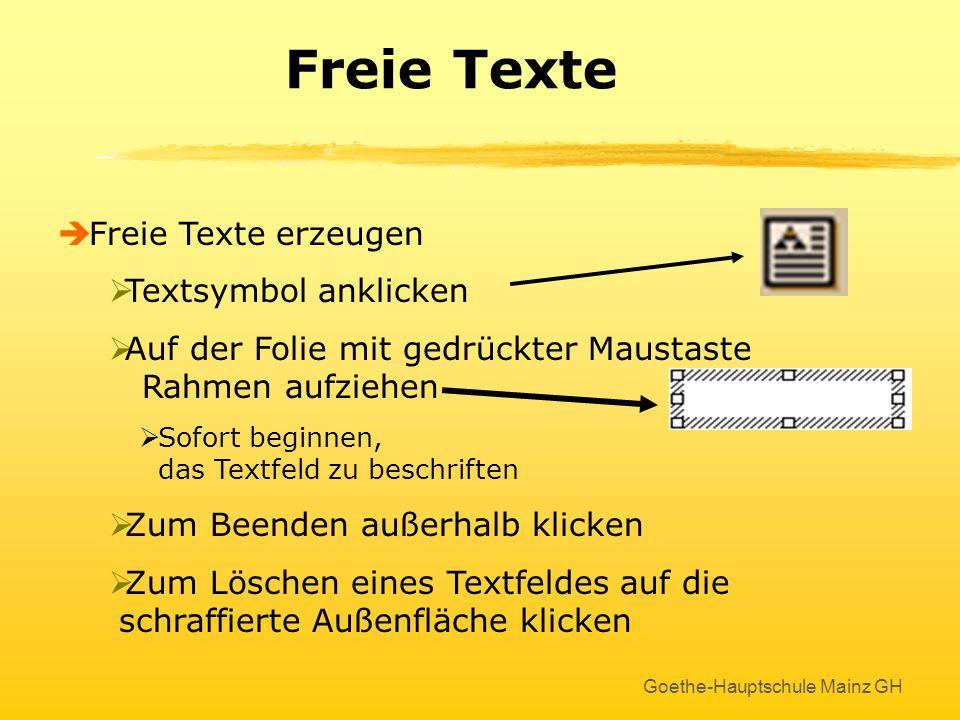 Freie Texte Freie Texte erzeugen Textsymbol anklicken