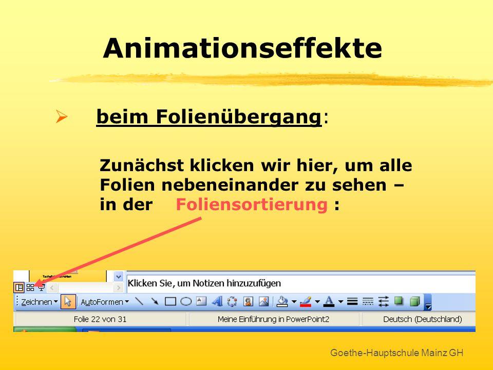 Animationseffekte beim Folienübergang: