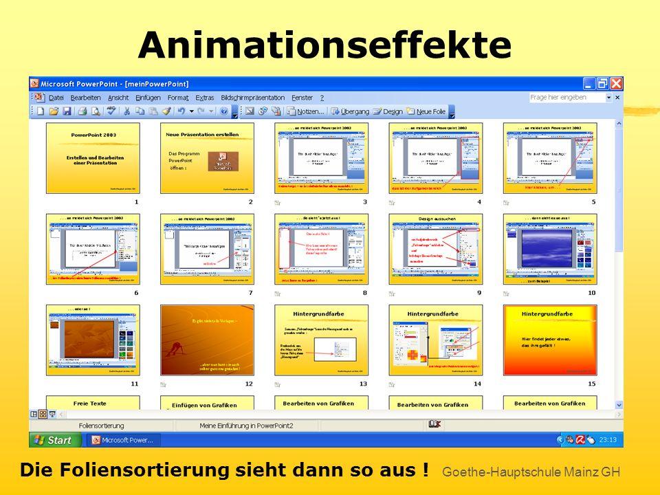 Animationseffekte Die Foliensortierung sieht dann so aus !