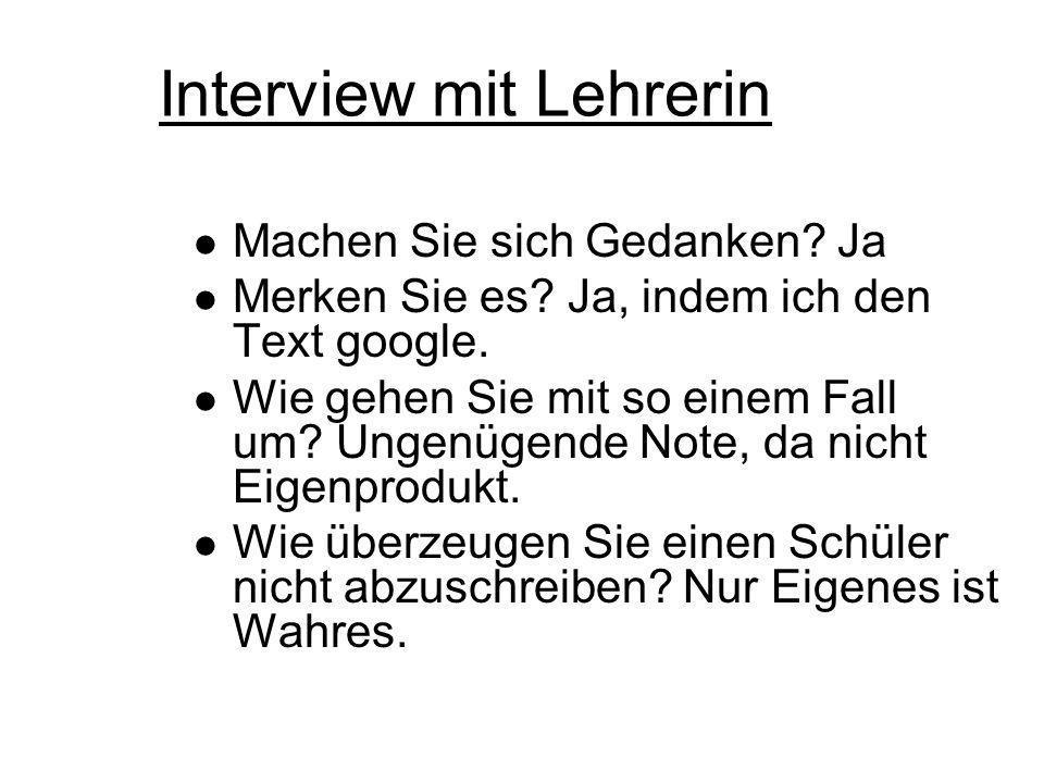 Interview mit Lehrerin