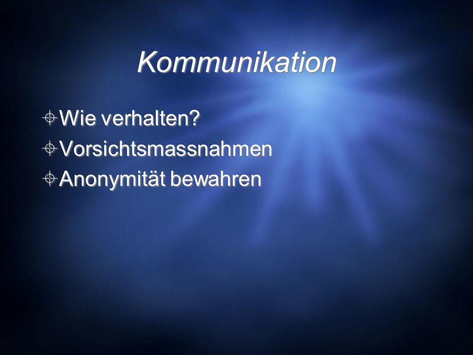 Kommunikation Wie verhalten Vorsichtsmassnahmen Anonymität bewahren