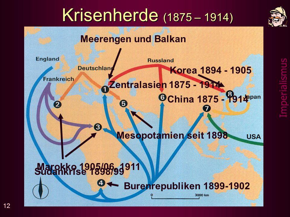 Krisenherde (1875 – 1914) Meerengen und Balkan Korea 1894 - 1905