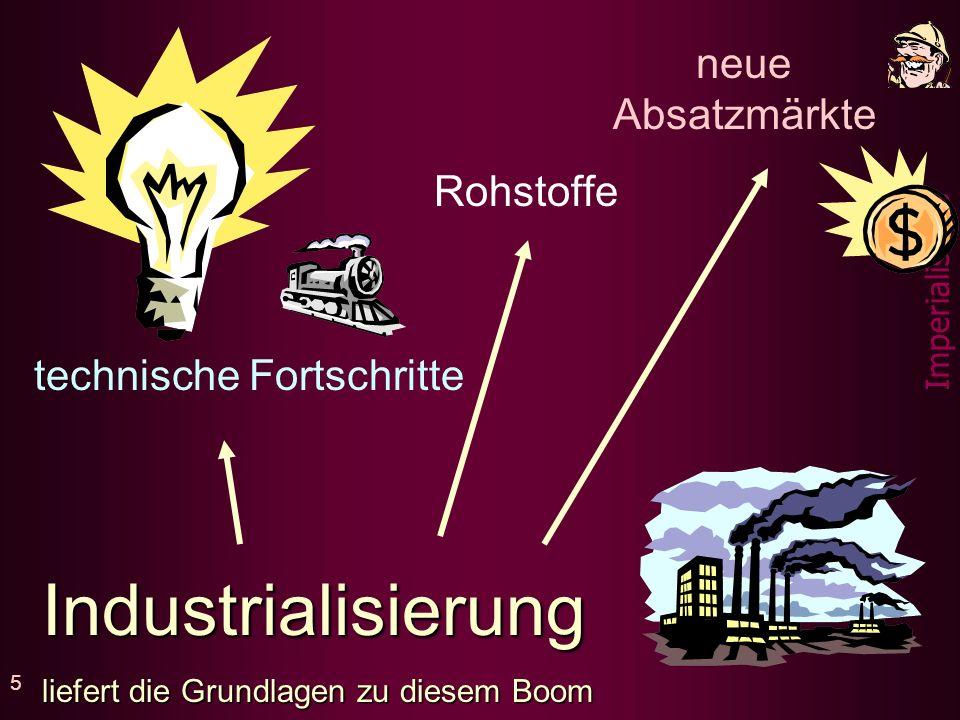 Industrialisierung neue Absatzmärkte Rohstoffe technische Fortschritte