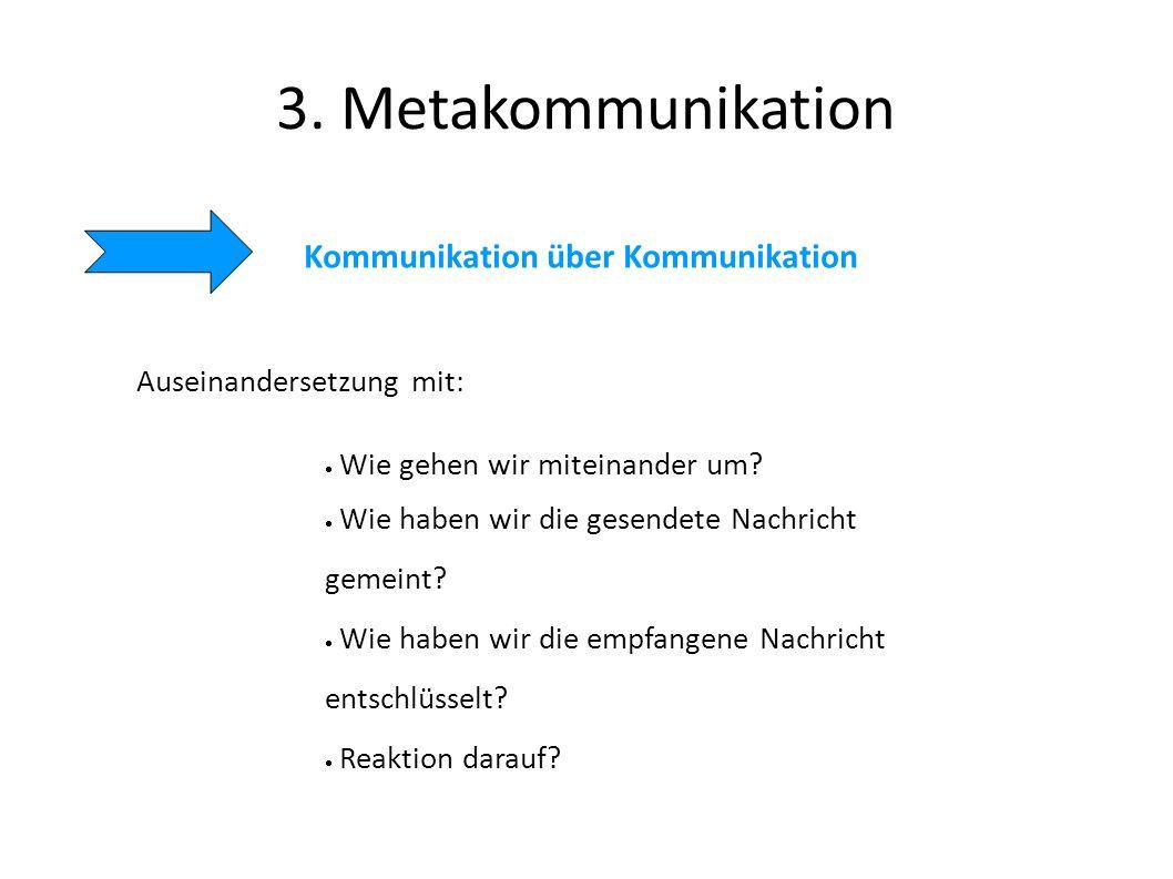 3. Metakommunikation Kommunikation über Kommunikation