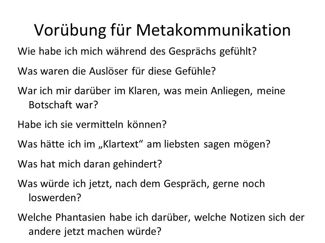 Vorübung für Metakommunikation
