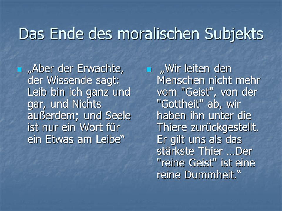 Das Ende des moralischen Subjekts