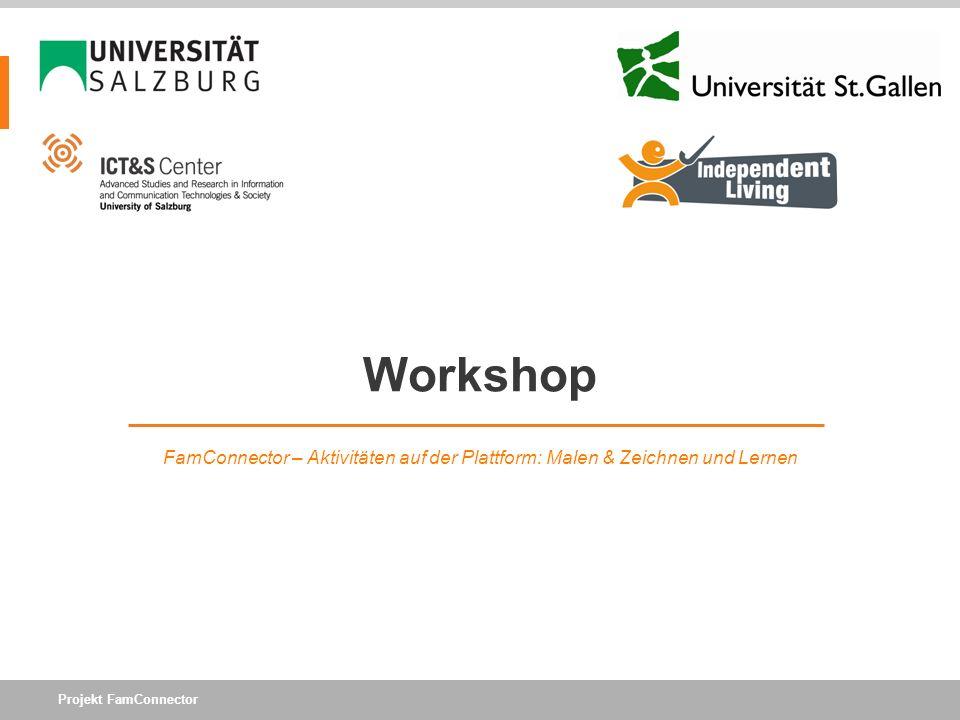 Workshop FamConnector – Aktivitäten auf der Plattform: Malen & Zeichnen und Lernen