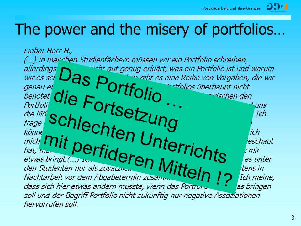 The power and the misery of portfolios…