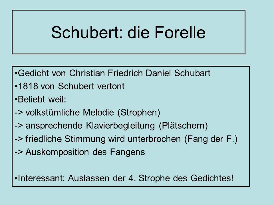 Schubert: die Forelle Gedicht von Christian Friedrich Daniel Schubart